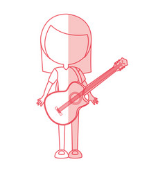 Shadow women guitar cartoon vector