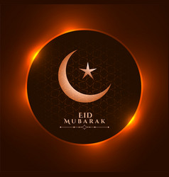 Shiny eid mubarak festival wishes greeting design vector