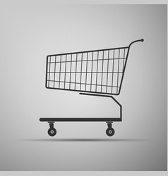 Shopping cart flat icon on grey background vector