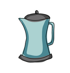 Silhouette color hand drawn of metallic kettle of vector