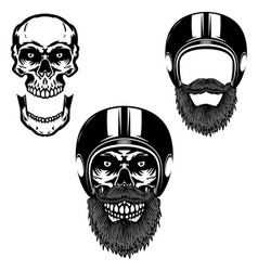 skull in biker helmet design element for poster vector image