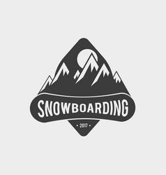 Snowboard club logo label or badge template vector
