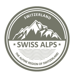 Snowbound Swiss Alps emblem - Switzerland stamp vector