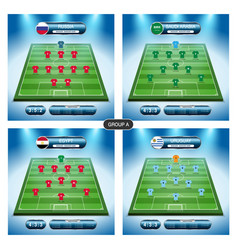 Soccer team player plan group a with flags vector