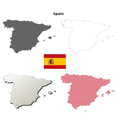 Spain outline map set vector