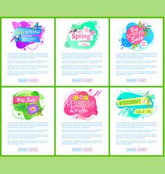 spring best discount offer promo labels vector image