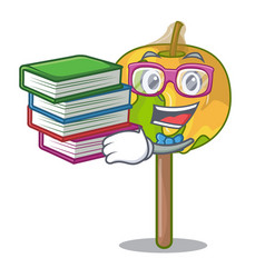 Student with book candy apple mascot cartoon vector