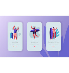 surfing recreation in ocean mobile app page vector image