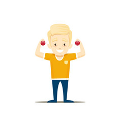 the boy does exercises with dumbbells vector image