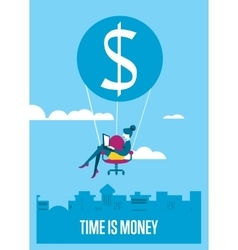 Time is money banner Woman with laptop flying vector