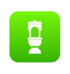 toilet bowl icon digital green vector image