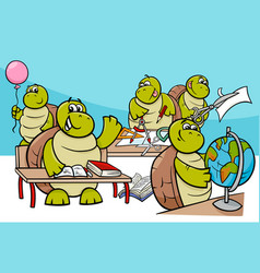 turtle pupils cartoon characters group vector image