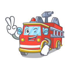 two finger fire truck character cartoon vector image