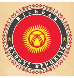 Vintage label cards of Kyrgyzstan flag vector image