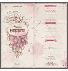 Vintage wine menu design Document template vector image
