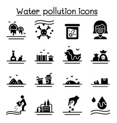 Water pollution icon set flat style vector