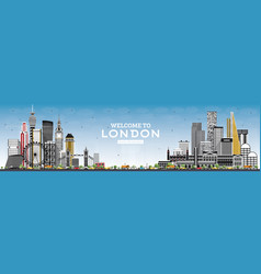 welcome to london england skyline with gray vector image