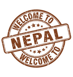 Welcome to nepal brown round vintage stamp vector