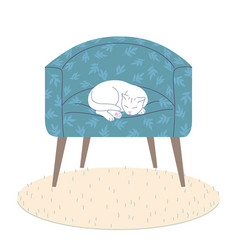 white cat sleeping in armchair vector image