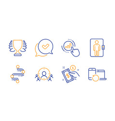 Winner elevator and business targeting icons set vector