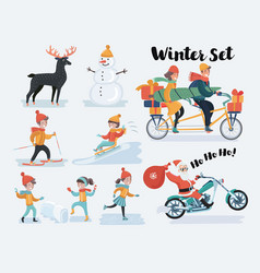 winter christmas people set flat vector image