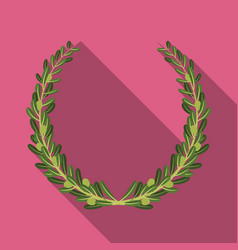 Wreath from olive branchesolives single icon in vector