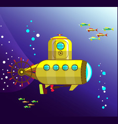 yellow bathyscaphe under the water vector image