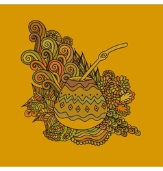 Yerba mate tea gourd vector