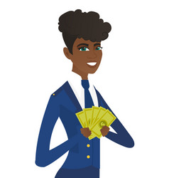 Young african-american stewardess holding money vector