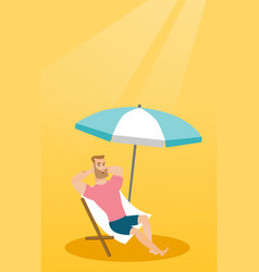 Young caucasian man relaxing on the beach chair vector