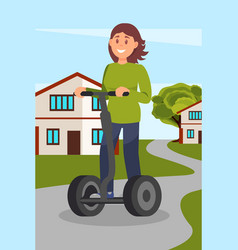 Young woman riding segway on city street healthy vector
