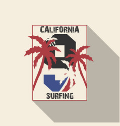 california beach typography with palms vector image vector image