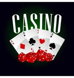 Casino dice and poker cards vector image
