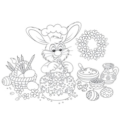 Easter bunny decorates a fancy cake vector image vector image