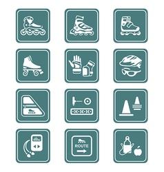 Inline skating set - TEAL series vector image