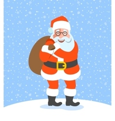 Santa Claus holds bag with Christmas gifts cartoon vector image vector image