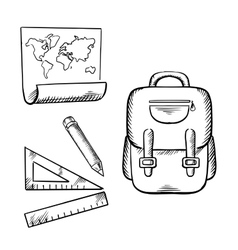 School backpack map pencil and rulers sketch vector