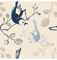 seamless pattern with branches and birds vector image vector image