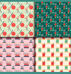 Sewing buttons seamless pattern with vector