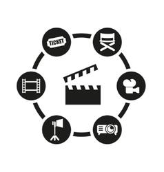 black cinema icon set vector image vector image
