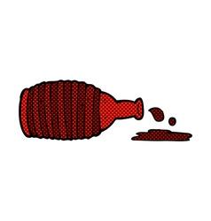 comic cartoon spilled bottle vector image vector image