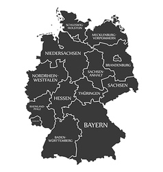Germany map with labels black vector image vector image