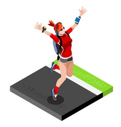 Marathon runners gym working out 3d flat image vector