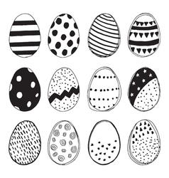 Set of easter eggs doodles vector image