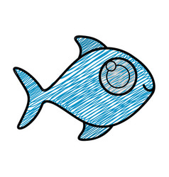 color pencil drawing of fish without scales vector image vector image