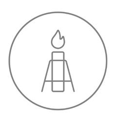 Gas flare line icon vector image vector image