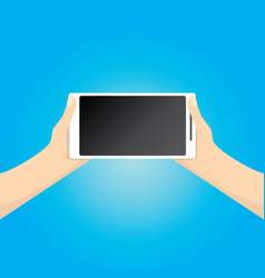 hand holding white smart phone on blue background vector image