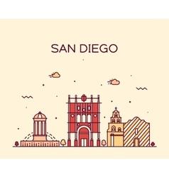 San Diego skyline linear vector image