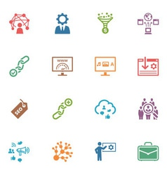 SEO and Internet Marketing Colored Icons - Set 2 vector image