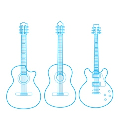 silhouettes of classic guitars isolated on white vector image